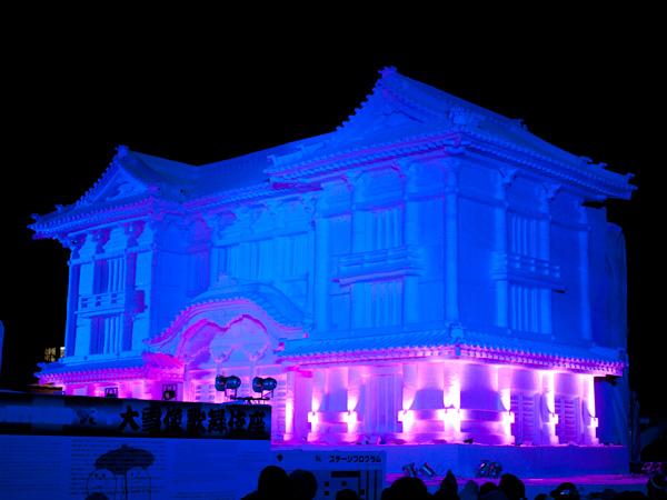 歌舞伎座の大雪像ライティングショー