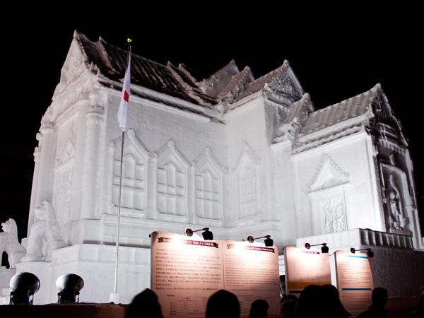 タイの大理石寺院の大雪像
